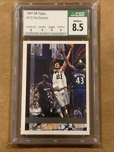 Tim Duncan 1997-98 Topps #115 Rookie RC CSG 8.5 NM/Mint+