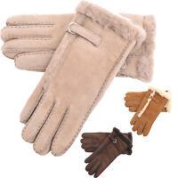 Ladies Soft Real Genuine Sheepskin Gloves Wool Out Gloves Buckle Cream Chestnut