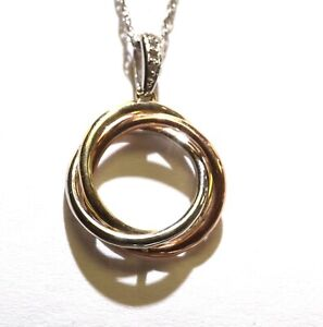 925 Sterling Silver 10k multi gold .05ct diamond circle pendant necklace 2.7g