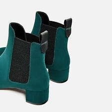 NEW WITH TAGS ZARA TFRF GREEN BOOTS BOOTIES VELVET SUEDE 38/ US 7.5