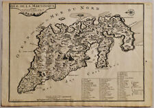 1704 Genuine Antique map Island of Martinique, Caribbean, Antilles. N. De Fer