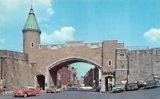 QUEBEC, Canada    ST JOHN GATE~La Porte St Jean  50's Cars  1964 Chrome Postcard