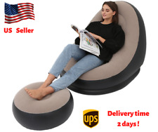 Inflatable Lazy Lounge Chair Set Sofa Footrest Home Bedroom Indoor and outdoor