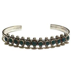 "925 Sterling Silver womens turquoise gemstone bangle bracelet 12.4g 7"" estate"
