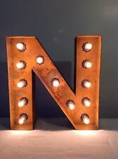 "New Rustic Metal Letter N Light Marquee: Sign Wall Decoration 12"" Vintage"