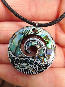 """New Zealand Abalone Paua Shell Maori Koru Fern Pendant Cord Necklace  44cm/17"""""""