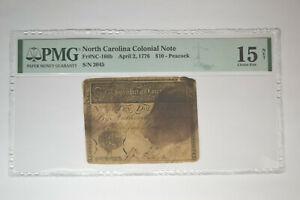 North Carolina Colonial Note- April 2, 1776- $10 Peacock-  PMG Choice Fine- Net