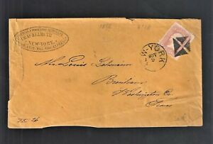 1866 C Helmuth NY Germ  Amer Mail Parcel Express Cover To Brenham TX (AUG21)