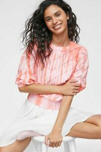 NWT Anthropologie Sandy Puff Sleeved Pullover Pink Tie Dye Size Small