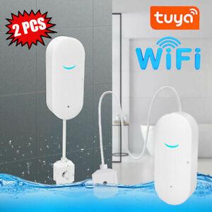 2X Tuya Smart WiFi Water Leak Sensor Flood Leakage Level Alarm Overflow Detector