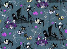 FAT QUARTER FABRIC  NIGHTMARE BEFORE CHRISTMAS JACK IN THE BOX TIM BURTON COTTON
