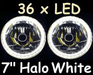"WHITE 7"" Round LED Halo Datsun 1200 1300 2402 2602 H4 Semi Sealed Headlights"