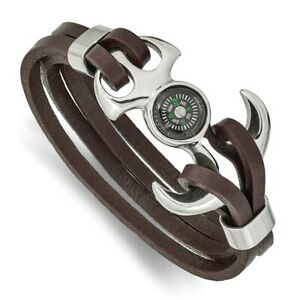 NEW Stainless Steel Polished Functional Compass Brown Leather 8.5in Bracelet