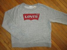 LEVIS WOMENS CREW NECK SWEATSHIRT Pullover Heather Gray Jeans Logo Levi Strauss
