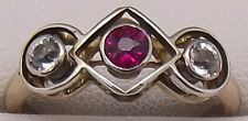 18CT ROSE & WHITE GOLD SYNTHETIC RUBY&COLOURLESS SAPPHIRE DRESS RING-VALUE $1986