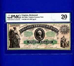 1860's $20 Virginia Treasury Note RICHMOND RARE CIVIL WAR ERA PMG 20 VERY FINE