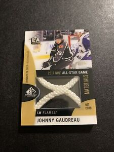 2017-18 UD SP Game Used Johnny Gaudreau All Star Game Materials Net Cord /35