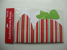 2 X Rosso Bianco Verde a Righe Scatole di biscotti caramelle scatola Scatole Regalo Confezioni Natale