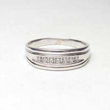 Mens Estate 14K White Gold Seven Brilliant Cut Diamond Band Style Ring 0.28 Cts