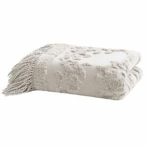 "Luxury Soft Grey Cotton Tufted Textured Throw Blanket w/Fringes - 50x60"""