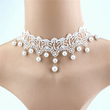 Trendy Sexy Lace Pearl Necklace Creative Romantic Women Jewelry Accessories ELAG