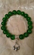 Claddagh charm green 10mm crackle glass beaded bracelet Irish gift bag Christmas