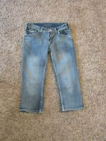 Baby Phat Girls Jeans Capri Size 14 Embellished Jeweled Cotton/Polyester Blend