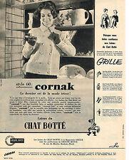 PUBLICITE ADVERTISING  1959   LE CHAT BOTTE  laines  CORNAK