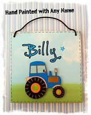 Blue Tractor Room Door Sign Farm Plaque PERSONALISED WITH NAME Wooden childrens