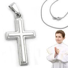 Kinder Kommunion Konfirmation Taufe Weiß Gold Kreuz 375 (9 KT) mit Silber Kette