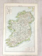 1898 Antique Map Ireland Eire Dublin Irish Sea Victorian Original 19th Century