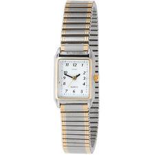 Vergoldete rechteckige Armbanduhren mit Edelstahl-Armband für Damen