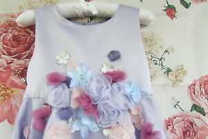 Lavender Flower Embellished Bridesmaid Party Occasion Dress By Monsoon 8-9 £60