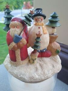 Santa Claus & Snowman Candle Topper Winter Christmas Fits Yankee Jar Candle