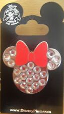 Disney Minnie Mouse- Jeweled Icon with Red Bow Pin - New on Card