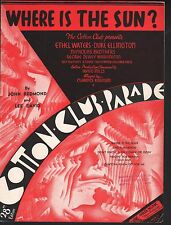 Where is the Sun 1937 Cotton Club Parade Ethel Waters Sheet Music