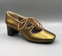 """NEW Clarks V&A """"Sondra Faye"""" Ladies Gold Leather Lace Up Court Shoes UK 5 D"""