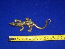 "Vintage solid brass lizard geco 5"" long"