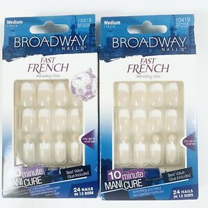 2 Broadway Nails Fast French Medium Length 24 Nails Beige 10419 Glue Included