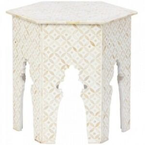 Made to Order Indian Handmade Bone Inlay Hexagonal Side Table White Geometric