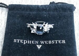 Stephen Webster Sterling Silver and Black Gemstone Ring Size 7