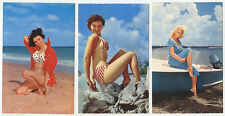BATHING BEAUTIES SET OF 6 COLOR PHOTO POST CARDS BEACHES+WOMEN IN BATHING SUITS