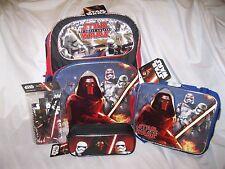 "DISNEY STAR WARS KYLO REN 16"" BACKPACK,LUNCH BAG,PENCIL CASE,+ STATIONARY COMBO"