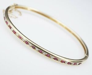 "Helzberg 14k Gold 0.8 cts Ruby Diamond Hinged Bangle Bracelet 6.25"" HDS BG551"