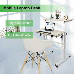 Computer Desk Adjustable PC Table Home Office Work Station Small With Roller