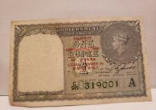 1940 British India 1 Rupee Banknote Military Admin of Burma Red Overprint XF