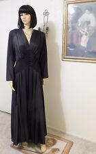 EVE STILLMAN vintage BLACK TRICOT & LACE Peignoir Set Made in USA size L large