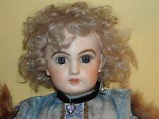 """Tete Jumeau Antique Reproduction - 19"""" - Blue Eyes - Blond Mohair Wig - Gorgeous"""