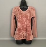 HARLEY DAVIDSON Women's Studded Front-Brown Long Sleeve Pullover Tee-Top Sz.MD
