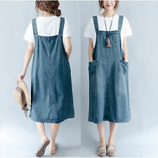 2017 Women Casual Denim Strap Dungaree Mid Dress Jeans Overalls Suspender Skirts